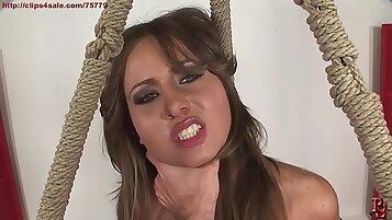 Angelica and Devon share their favorite breadsticks in BDSM pose