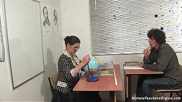 Russian rimming along mature teacher