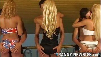 black tranny gangbang by masterbating hard