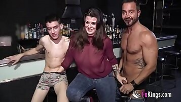 Bareback foursome with sexy restrained lesbian babe
