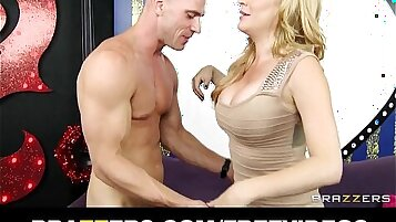 Blonde MILF with big tits masturbates in pits