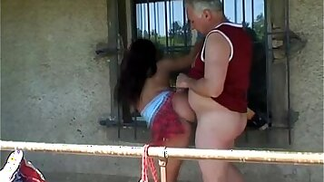 Busty tit teen banged outdoors