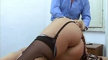 Blondie gets her sensual mouth and cunt abused by a mature guy