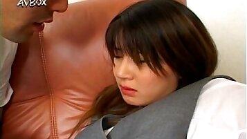 Japanese school girl Ami Matsuda blowjob and facial