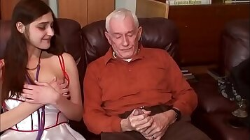 Young brunette fucked by a Slutty Horny Grandpa